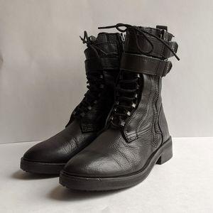 Dolce Vita Nolee Black Leather Combat Boots